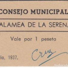 Reproducciones billetes y monedas: BILLETE DE 1 PESETA DEL CONSEJO MUNICIPAL DE ZALAMEA DE LA SERENA AÑO 1937 SIN CIRCULAR (MUY RARO). Lote 165366734