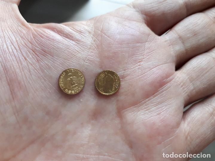 Reproducciones billetes y monedas: DOS MONEDITAS ORO 22 KTES HGE. MEJICO Y USA. - Foto 3 - 166213306