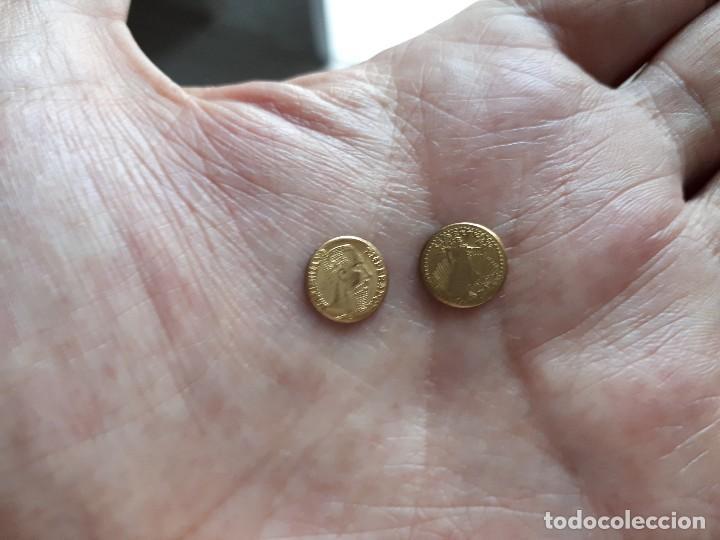 Reproducciones billetes y monedas: DOS MONEDITAS ORO 22 KTES HGE. MEJICO Y USA. - Foto 4 - 166213306