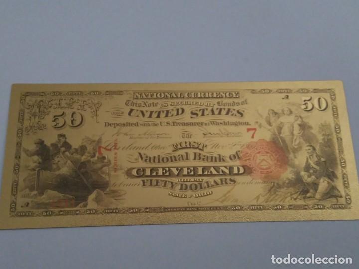 BILLETE ORO 50 DOLARES ANTIGUOS CLEVELAND 99,9% PURE GOLD 24K (Numismática - Reproducciones)