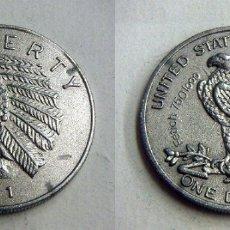 Reproducciones billetes y monedas: REPRODUCCIÓN DE 1 DOLAR LIBERTY DE 1971 30MM. Lote 167487476