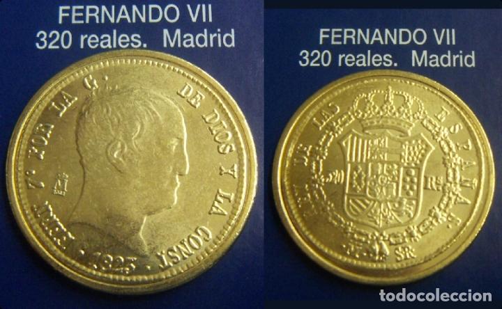 REPRODUCCION DE UNA MONEDA DE FERNANDO VII 320 REALES 1823 CECA MADRID FNMT (Numismática - Reproducciones)