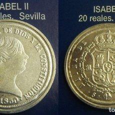 Reproducciones billetes y monedas: REPRODUCCION DE UNA MONEDA DE ISABEL II 20 REALES 1850 CECA SEVILLA FNMT. Lote 167917116