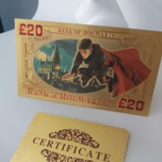 Reproducciones billetes y monedas: EXCLUSIVO BILLETE DE HARRY POTTER 99.9% ORO 24 K CON CERTIFICADO DE AUTENTICIDAD + REGALO!!!!!!!!!. Lote 209853846