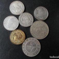 Reproducciones billetes y monedas: CONJUNTO DE 7 PIEZAS REPRODUCCIONES MONEDA ESPAÑOLA TODOS LOS TIEMPOS VER FOTOS . Lote 168888240