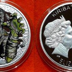 Reproductions billets et monnaies: MEDALLA PLATA 1 OZ - KIRIBATI 2016 - COINS FROM THE CRIPT R.I.P. - LA MOMIA - CAPSULA . Lote 170063664