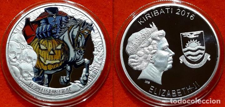 MEDALLA PLATA 1 OZ - KIRIBATI 2016 - COINS FROM THE CRIPT R.I.P. - JINETE SIN CABEZA - CAPSULA (Numismática - Reproducciones)