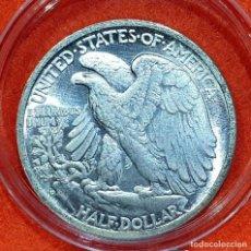 Reproducciones billetes y monedas: USA HALF DOLLAR PLATA - AGUILA (AMBOS LADOS IGUALES) - S.C. - 31 MM - 11,40 GRS - CAPSULA - USA 23. Lote 171014750
