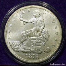 Reproducciones billetes y monedas: USA - TRADE DOLLAR PLATA - LIBERTY - AÑO 1878 - S.C. 38 MM. 23,75 GRS. CAPSULA - M. 03. Lote 171274415