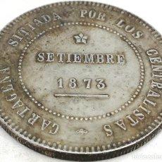 Reproducciones billetes y monedas: RÉPLICA MONEDA REVOLUCIÓN CANTONAL, CARTAGENA, I REPÚBLICA ESPAÑOLA. 5 PESETAS. 1873. Lote 171785740