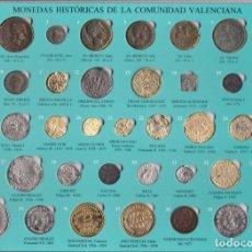 Reproduções notas e moedas: COLECCION COMPLETA DE 40 MONEDAS HISTORICAS DE LA COMUNIDAD VALENCIANA EN SU ESTUCHE ORIGINAL. Lote 171999174