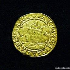 Riproduzioni banconote e monete: 23. MEDALLA NUMISMÁTICA. CARLOS I. DOBLE DUCADO. METAL DORADO. REPRODUCCIÓN. Lote 172209334