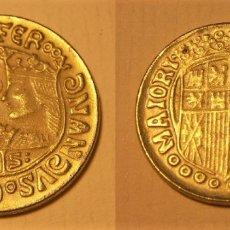 Reproducciones billetes y monedas: REPRODUCCION DE UNA MONEDA DE LOS REYES CATOLICOS DUCADO DE ORO. Lote 194173007