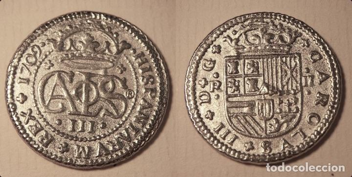 REPRODUCCION DE UNA MONEDA DE ARCHIDUQUE CARLOS III 2 REALES BARCELONA 1709 (Numismática - Reproducciones)
