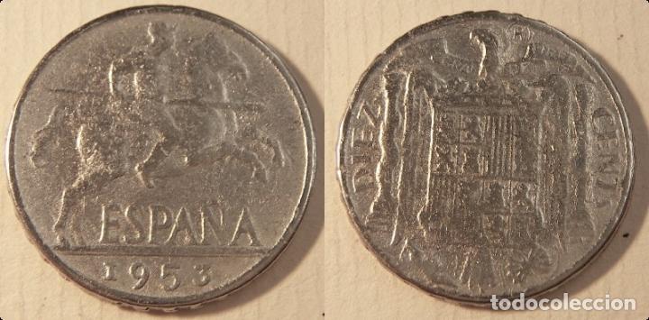REPRODUCCIÓN DE UNA MONEDA DE ESTADO ESPAÑOL 10 CENTIMOS 1953 (Numismática - Reproducciones)