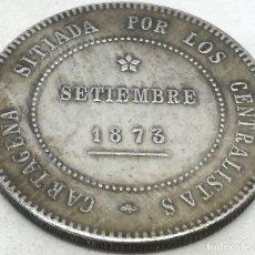 Reproducciones billetes y monedas: RÉPLICA MONEDA REVOLUCIÓN CANTONAL, CARTAGENA, I REPÚBLICA ESPAÑOLA. 5 PESETAS. 1873. Lote 173259860