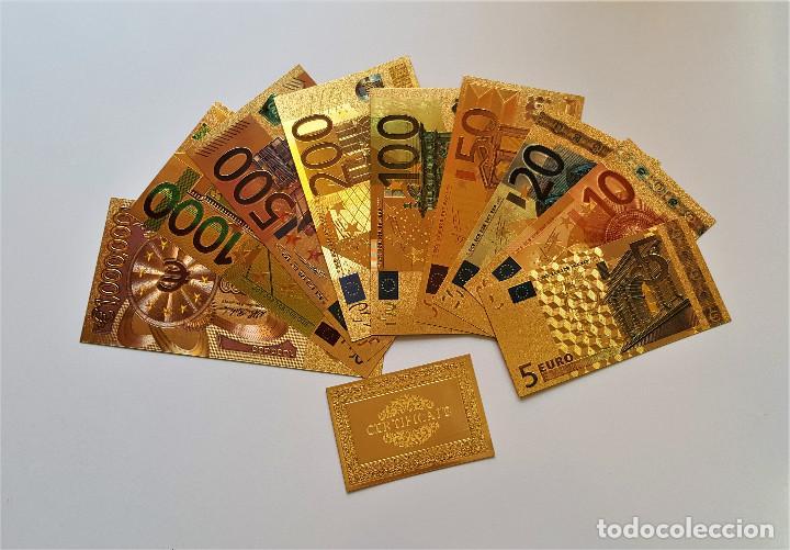 ORIGINAL COLECCION 9 BILLETES EUROS A COLOR 99.9% PURE ORO 24K. CON CERTIFICADO AUTENTICIDAD NUEVOS (Numismática - Reproducciones)