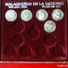 Reproducciones billetes y monedas: MONEDAS PLATA DE LEY MALAGUEÑOS DE LA HISTORIA,JOS. Lote 173512959