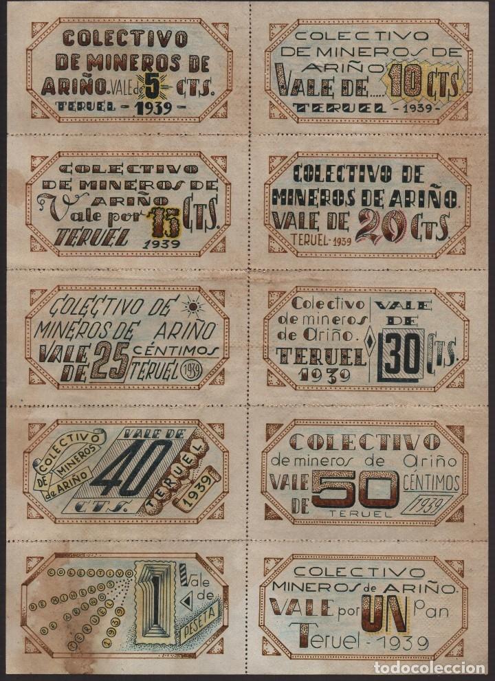TERUEL, -HOJA COMPLETA- COLECTIVO DE MINEROS DE ARIÑO- AÑO 1939, VER FOTOS (Numismática - Reproducciones)