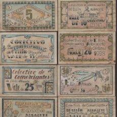 Reproducciones billetes y monedas: ALBACETE, 10 VALES--SERIE COMPLETA-- COMERCIANTES DE ELLIN,-PRIVADO- VER FOTOS. Lote 174012884