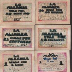 Reproducciones billetes y monedas: CORDOBA. 8 VALES--SERIE COMPLETA- LA ALIANZA,-PRIVADO- VER FOTOS. Lote 174013230