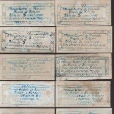 Reproducciones billetes y monedas: MADRID,. 10 VALES--SERIE COMPLETA- MERCADO CENTRAL PUERTA DE TOLEDO-PRIVADO- VER FOTOS. Lote 174013672