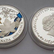 Reproducciones billetes y monedas: CANADA 1 OZ 2016 REINA ELIZABETH II 90 AŃOS. Lote 175023502
