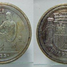 Reproducciones billetes y monedas: REPRODUCCION DE UNA MONEDA DE UNA PESETA 1933 FNMT. Lote 175192627