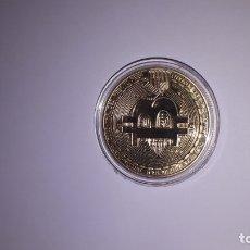 Reproductions billets et monnaies: MONEDA BITCOIN DE ORO ELECTRO-GALVANIZADA DE 18 KILATES. Lote 175701048