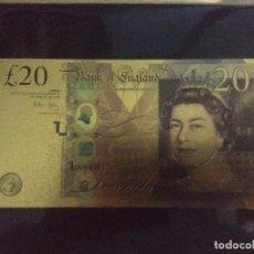 Reproducciones billetes y monedas: BILLETE ORO 20 LIBRAS 99,9% PURE GOLD 24K. Lote 175721248