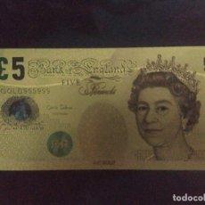 Reproducciones billetes y monedas: BILLETE ORO 5 LIBRAS 99,9% PURE GOLD 24K. Lote 175722647