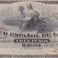 Reproducciones billetes y monedas: EL BANCO ESPAÑOL DE LA HABANA, CUBA, 3 PESOS, COPIA/REPRODUCCION. Lote 175865117