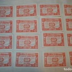 Reproducciones billetes y monedas: 16 BILLETES GUERRA CIVIL DE 1 PTS - JUNIO 1937 - ALCAÑÍZ - ALGUNOS CONSECUTIVOS - CONSEJO MUNICIPAL. Lote 176278497