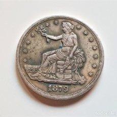 Reproducciones billetes y monedas: USA TRADE DOLLAR 1879 - 38.MM DIAMETRO - 23.GRAMOS (20% PLATA 80% NICKEL Y OTROS). Lote 176323789