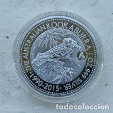 Reproducciones billetes y monedas: 1 $ DOLAR AUSTRALIA 2015 KOOKABURRA EN CAPSULA PROTECTORA. Lote 176618022