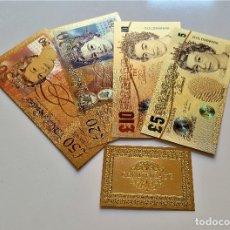 Reproducciones billetes y monedas: REINO UNIDO 4 BILLETES 5-10-20-50 LIBRAS A COLOR 99.9% PURE ORO 24K.+CERTIFICADO AUTENTICIDAD NUEVOS. Lote 176929898