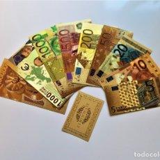 Reproducciones billetes y monedas: ORIGINAL COLECCION 9 BILLETES EUROS A COLOR 99.9% PURE ORO 24K. CON CERTIFICADO AUTENTICIDAD NUEVOS. Lote 176958183