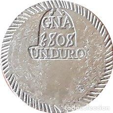 Reproduções notas e moedas: RÉPLICA MONEDA GERONA. 1 DURO. 1808. REY FERNANDO VII.. Lote 177080348