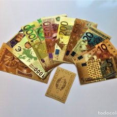Reproducciones billetes y monedas: ORIGINAL COLECCION 9 BILLETES EUROS A COLOR 99.9% PURE ORO 24K. CON CERTIFICADO AUTENTICIDAD NUEVOS. Lote 177424963