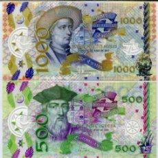 Reproducciones billetes y monedas: PORTUGUESE SET 4 PCS CLEAR WINDOW POLYMER 50 100 500 1000 ESCUDOS 2017 UNC. Lote 177676772