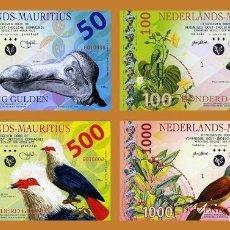 Reproducciones billetes y monedas: SET NETHERLANDS MAURITIUS, 50;100;500;1000 GULDEN, 2016, PRIVATE POLYMER, UNC. Lote 177679669
