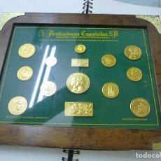 Reproducciones billetes y monedas: CUADRO ACUÑACIONES ESPAÑOLAS-MUESTRAS EN ALUMINIO ANODIZADO - N. Lote 178229585