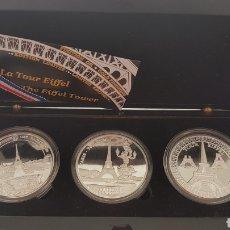 Reproducciones billetes y monedas: COLECCIÓN MONEDAS CONMEMORACIÓN TORRE EIFFEL. Lote 178329250