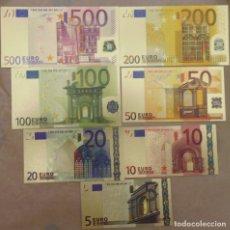 Reproducciones billetes y monedas: REPLICA DE 7 BILLETES DE EUROS BAÑADOS EN ORO CON TODO LUJO DE DETALLES MIRA LAS FOTOS. Lote 210654142