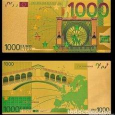 Reproducciones billetes y monedas: MAGNIFICO BILLETE 1000 EUROS ORO 24K. Lote 179055051