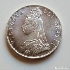 Reproducciones billetes y monedas: GRAN BRETAÑA 1887 VICTORIA FLORIN MONEDA PLATA BAÑADA - 22.25.GRAMOS 35.MM DIAMETRO. Lote 179128848
