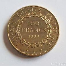 Reproducciones billetes y monedas: 1889 FRANCIA PARIS 100 FRANCS - MUY ESCASA Y RARA - 35.MM DIAMETRO - 26.05.GRAMOS. Lote 179128882