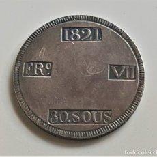 Reproducciones billetes y monedas: ESPAÑA 1821 FERNANDO VII. 30 SOUS PALMA DE MALLORCA -24.86.GR.- 40.MM DIAMETRO ALEACION PLATA NICKEL. Lote 179392648