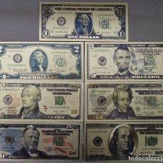 Reproducciones billetes y monedas: 7 BILLETES DE DOLARES EEUU CON BAÑO DE ORO DE 24K MIRA LAS FOTOS ( LAS FOTOS NO LES HACEN JUSTICA), . Lote 179527695