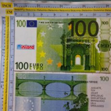 Reproducciones billetes y monedas: BILLETE DE JUGUETE. FACSÍMIL REPRODUCCIÓN MINILAND. 100 EUROS. PVC JUEGO. 587. Lote 180124218